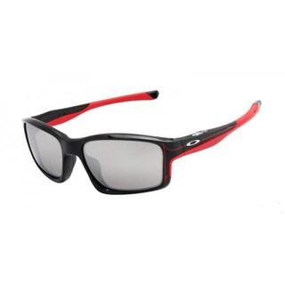 Oakley Chainlink Men's Black Rectangular Frame Chrome Iridium 57 mm Lens Sunglasses
