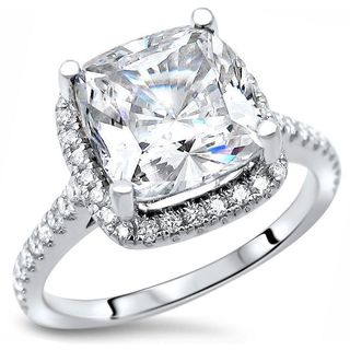 Noori 14k White Gold 2 1/3ct TGW Cushion Cut Moissanite Diamond Engagement Ring (White/G-H, SI1-SI2)