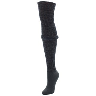 MeMoi Black Wool Blend Rib Over the Knee Socks