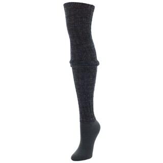 MeMoi Black Wool Blend Rib Over the Knee Socks (4 options available)