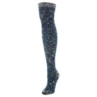 MeMoi Snowflake n' Stripes Black Cotton-blend Over-the-knee Socks