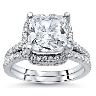 Noori 14k White Gold Cushion-cut Moissanite and 1/2ct TDW Diamond Bridal Set (G-H, SI1-SI2)
