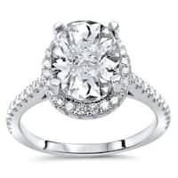 Noori 14k White Gold 2 1/6ct TGW Oval Cut Moissanite Diamond Engagement Ring (G-H, SI1-SI2)
