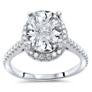 Noori 14k White Gold 2 1/6ct TGW Oval Cut Moissanite Diamond Engagement Ring (G-H, SI1-SI2)