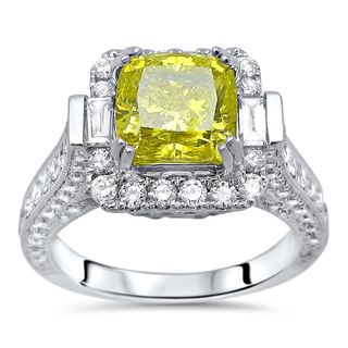 Noori 18k White Gold 3 1/10ct TDW Yellow Cushion-cut Diamond Engagement Ring (F-G, SI1-SI2)
