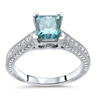 Noori 18k White Gold 1 2/5ct TDW Blue Princess-cut Diamond Engagement Ring (F-G, SI1-SI2)