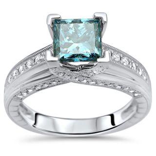 Noori 14k White Gold 1 2/5ct TDW Blue Princess-cut Diamond Engagement Ring (F-G, SI1-SI2)