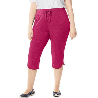 Just My Size by Hanes Women's Plus-size French Terry Dolphin-hem Pocket Capri Pants