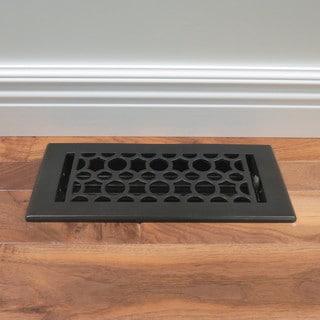 Unikwities 4X10 Art Nouveau Cast Iron Floor Register in Black Matte