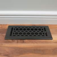 Unikwities 4X10 Art Nouveau Cast Iron Floor Register in Black Matte