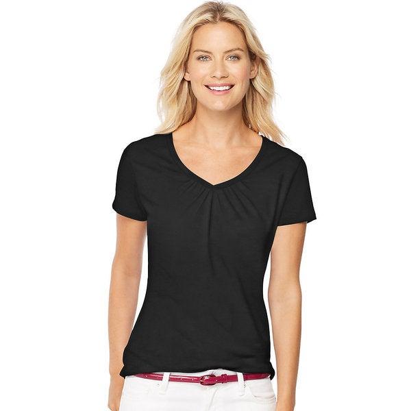 614f6c44ea9 Shop Hanes Women s Cotton Blend Short-Sleeve Shirred V-neck Tee ...