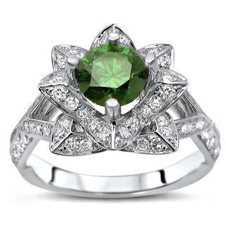 Noori 14k White Gold 1 1/2ct TDW Green Diamond Lotus Flower Engagement Ring (G-H, SI1-SI2)