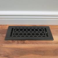 Unikwities 4X10 inch Art Nouveau Cast Metal Floor Register in Black