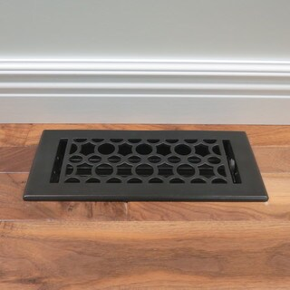 Unikwities 4X10 inch Art Nouveau Cast Metal Floor Register in Black