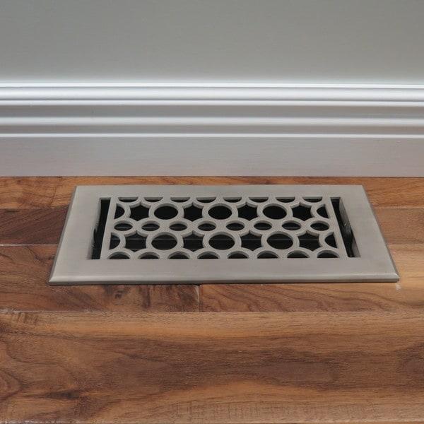 Unikwities 4X10 inch Art Nouveau Cast Metal Floor Register in Pewter