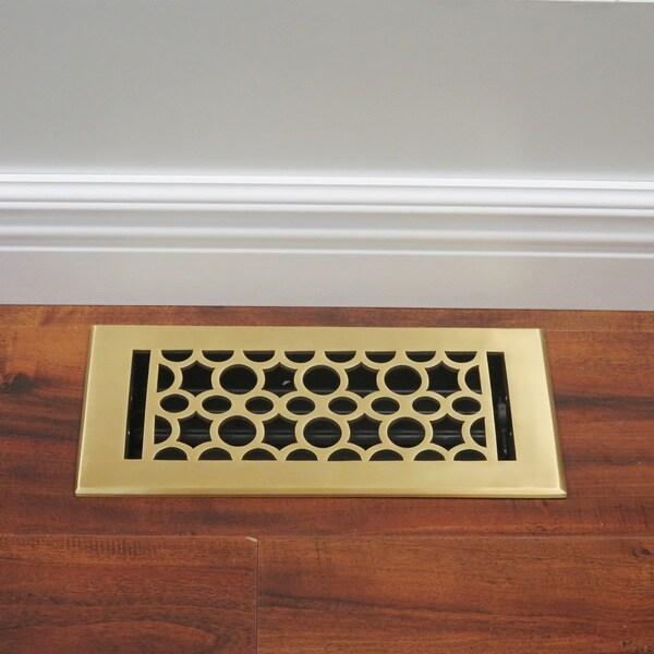 Unikwities 4X10 Solid Brass Floor Register in Polished Brass Finish