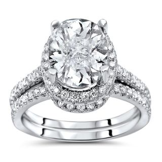 Noori 14k White Gold Oval-cut Moissanite and 1/2ct TDW Diamond Bridal Set (G-H, SI1-SI2)