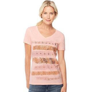 Hanes Women's Cambodia Stripe V-neck Tee