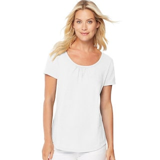 Hanes Women's Short-sleeve Shirred Scoop-neck T-shirt