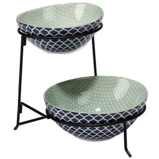 Certified International Chelsea Ceramic Mix and Match Indigo Quatrefoil 2-tier Server with Oval Bowls|https://ak1.ostkcdn.com/images/products/14326702/P20906175.jpg?impolicy=medium