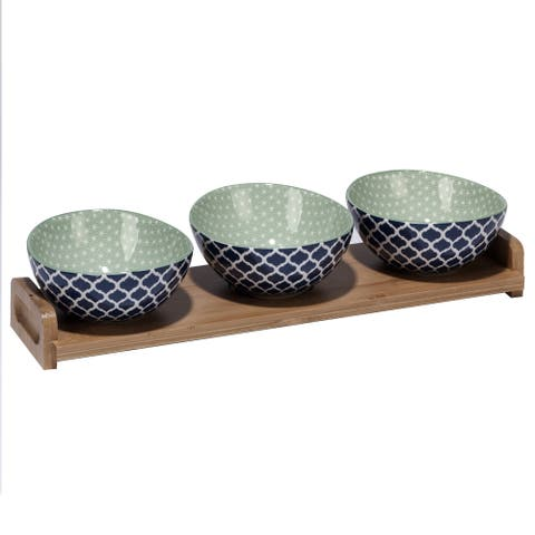 Certified International Chelsea Ceramic Mix and Match Indigo Quatrefoil Serving Set with Bamboo Tray (Pack of 4)