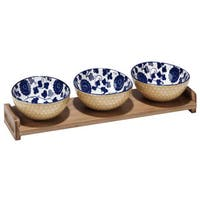 Certified International Chelsea Mix and Match indigo Poppy Ceramic Serving Set with Bamboo Tray (Pack of 4)