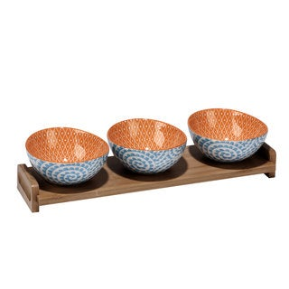 Certified International Chelsea Ceramic Mix and Match Aqua Swirl Serving Bowls with Bamboo Tray (Pack of 4)
