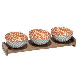Certified International Chelsea Green Ikat Ceramic and Bamboo Tray 4-piece Serving Set