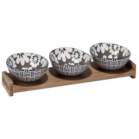 Certified International Chelsea Mix and Match Grey Floral Ceramic 4-piece Serving Set with Bamboo Tray