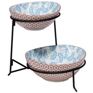 Certified International Honeycomb 2-tier Server with Ceramic Oval Bowls