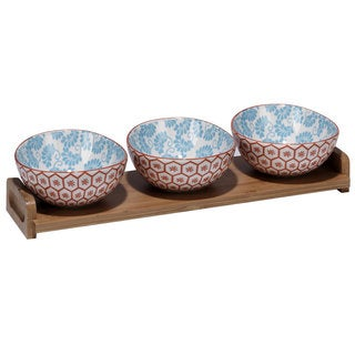 Certified International Honeycomb 4 pc. Ceramic Serving Set with Bamboo Tray