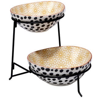 Certified International Daisy Dots 2-tier Server with Bowls