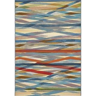 Unique Loom Eden Intersections Multicolor Polypropylene Outdoor Area Rug (5' x 8')