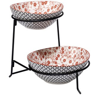 Certified International Red Floral Lattice Ceramic 2-tier Server with Bowls