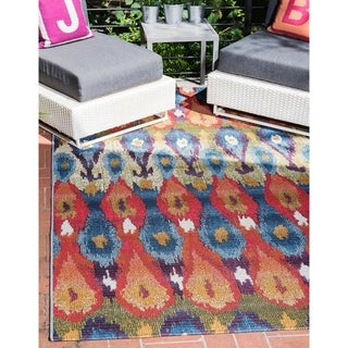 Eden Ikat Multicolor Polypropylene Outdoor Area Rug (5' x 8')