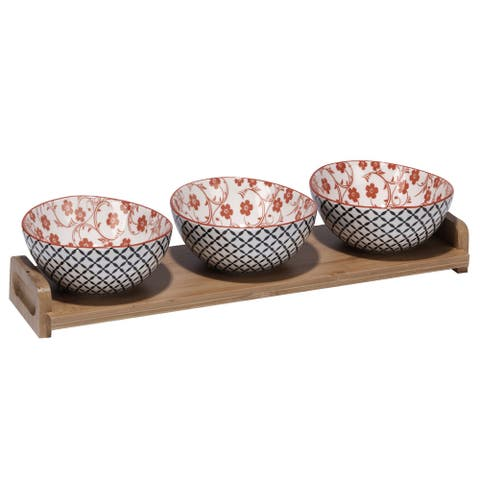 Certified International Red Floral Lattice Ceramic and Bamboo 4-piece Serving Set