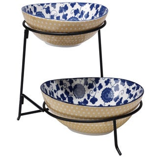 Certified International Chelsea Mix and Match Indigo Poppy Ceramic 2-tier Server with Bowls