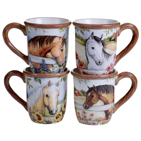 Certified International Heartland Ceramic 18-ounce Mugs (Pack of 4)