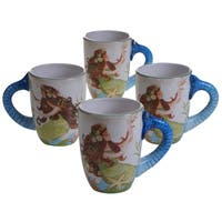 Certified International Sea Beauty Multicolored Ceramic 20-ounce Mugs (Pack of 4 Assorted Designs)