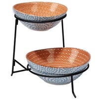Certified International Chelsea Mix and Match Aqua Ceramic Swirl 2-tier Server with Bowls