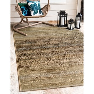 Eden Multicolor Polypropylene Distressed French Outdoor Area Rug (5' x 8')