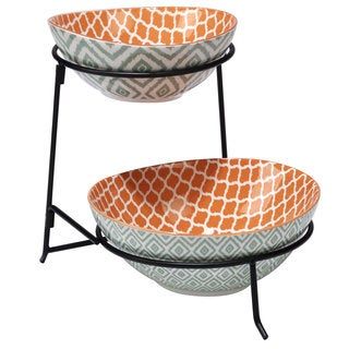 Certified International Chelsea Mix and Match Green Ceramic Ikat 2-tier Server with Bowls