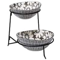 Certified International Chelsea Mix and Match Grey Floral 2-tier Server with Bowls