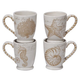 Certified International Coastal Discoveries White and Beige Ceramic 20-ounce Mugs (Pack of 4)