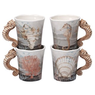 Certified International Coastal View 20 oz. Mugs (Pack of 4 Assorted Designs)