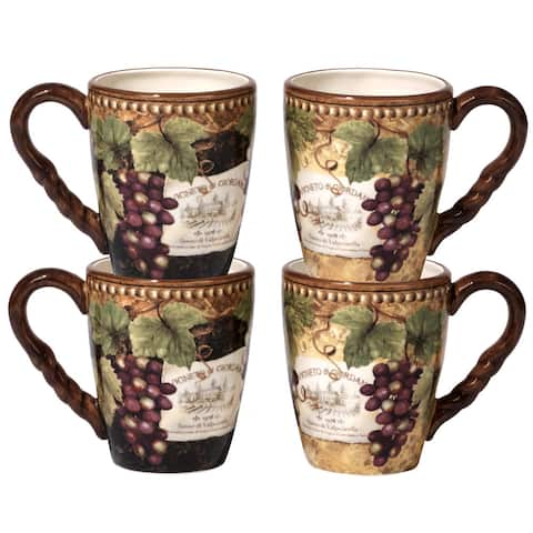 Certified International Gilded Wine Mugs with 2 Assorted Designs (Pack of 4)
