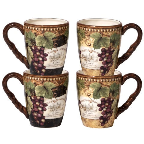 Certified International Gilded Wine Ceramic 20-ounce Mugs with 2 Assorted Designs (Pack of 4)