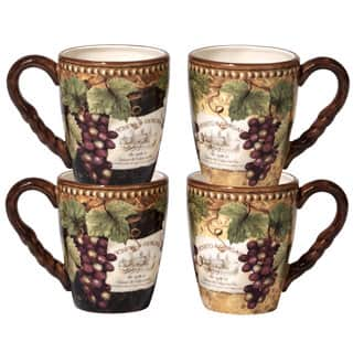 Certified International Gilded Wine Ceramic 20-ounce Mugs with 2 Assorted Designs (Pack of 4)|https://ak1.ostkcdn.com/images/products/14326757/P20906196.jpg?impolicy=medium