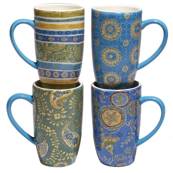 Certified International Exotic Garden Multicolored Ceramic 16-ounce  Hand-painted Latte Mugs (Set of 4 Varying Designs)