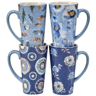 Certified International Indigold Blue/White Ceramic 16-ounce Hand-painted Latte Mugs (Set of 4 in Varying Designs)